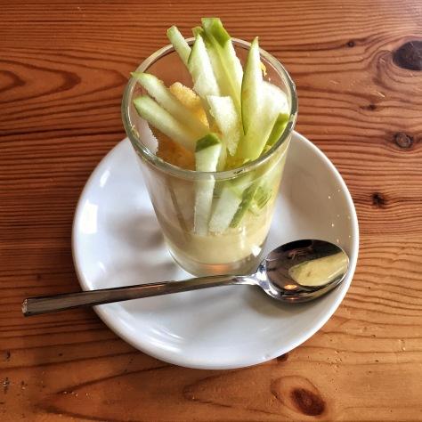 cremoso de limón con manzana verde
